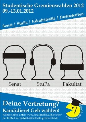 Plakat zur Gremienwahl 2012 an der Uni Greifswald