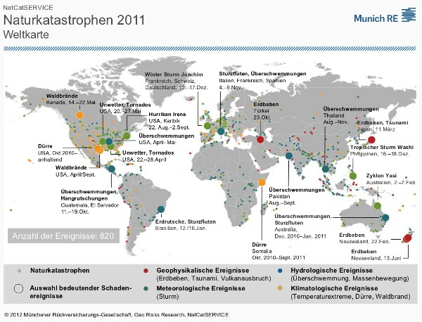 Weltkarte der Naturkatastrophen 2011