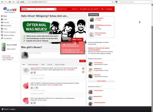 Screenshot des neuen Designs von StudiVZ