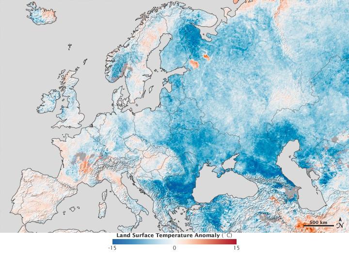 Europakarte mit Temperaturabweichung Ende Januar 2012