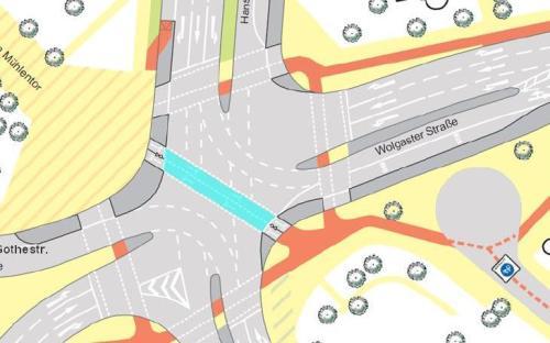 Plan zur Diagonalquerung an der Europakreuzung