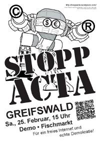 Stopp ACTA Demoplakat Greifswald