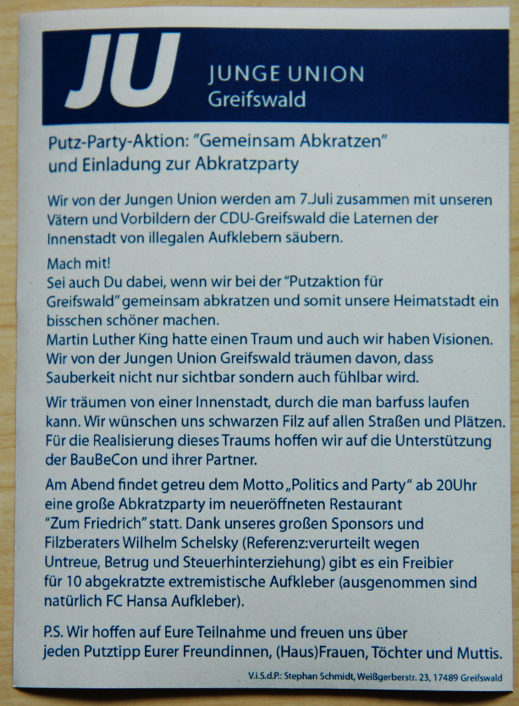 JU Abkratzparty Flyer