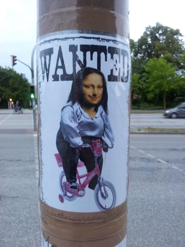 Wanted Mona Lisa auf Fahrrad
