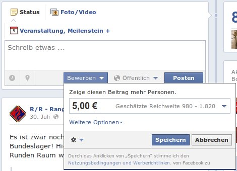 Facebook will Geld, damit Status Updates von allen gesehen werden