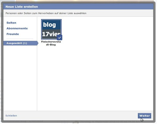 Facebook Interessenliste ausgewählte Seite