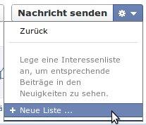 Facebook Interessenliste neu anlegen