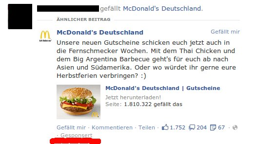 Gesponserter Post in der Facebook Timeline