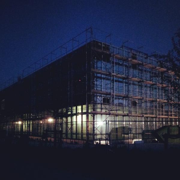 Baustelle der neuen Mensa am Beitz-Platz