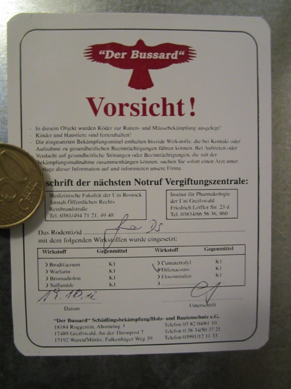 Warnhinweis Schädlingsbekämpfung