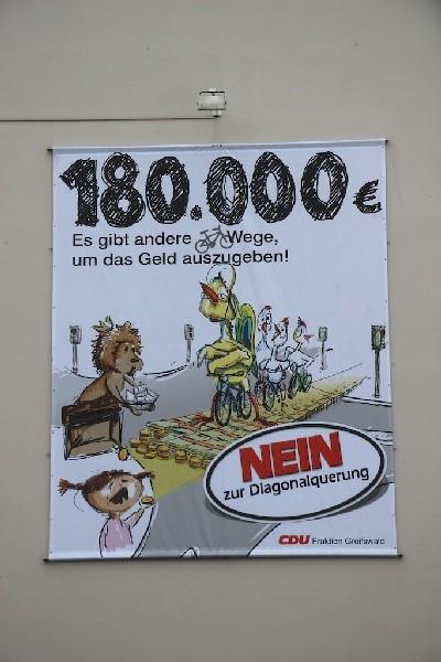 Plakat der CDU gegen die Diagonalquerung