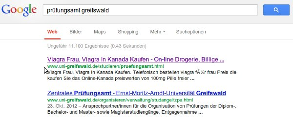 Screenshot der Suche nach Prüfungsamt Greifswald