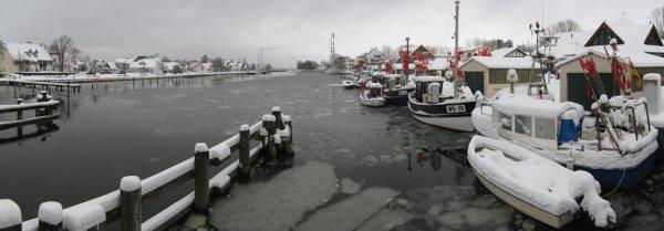 Panorama des Hafens Wieck