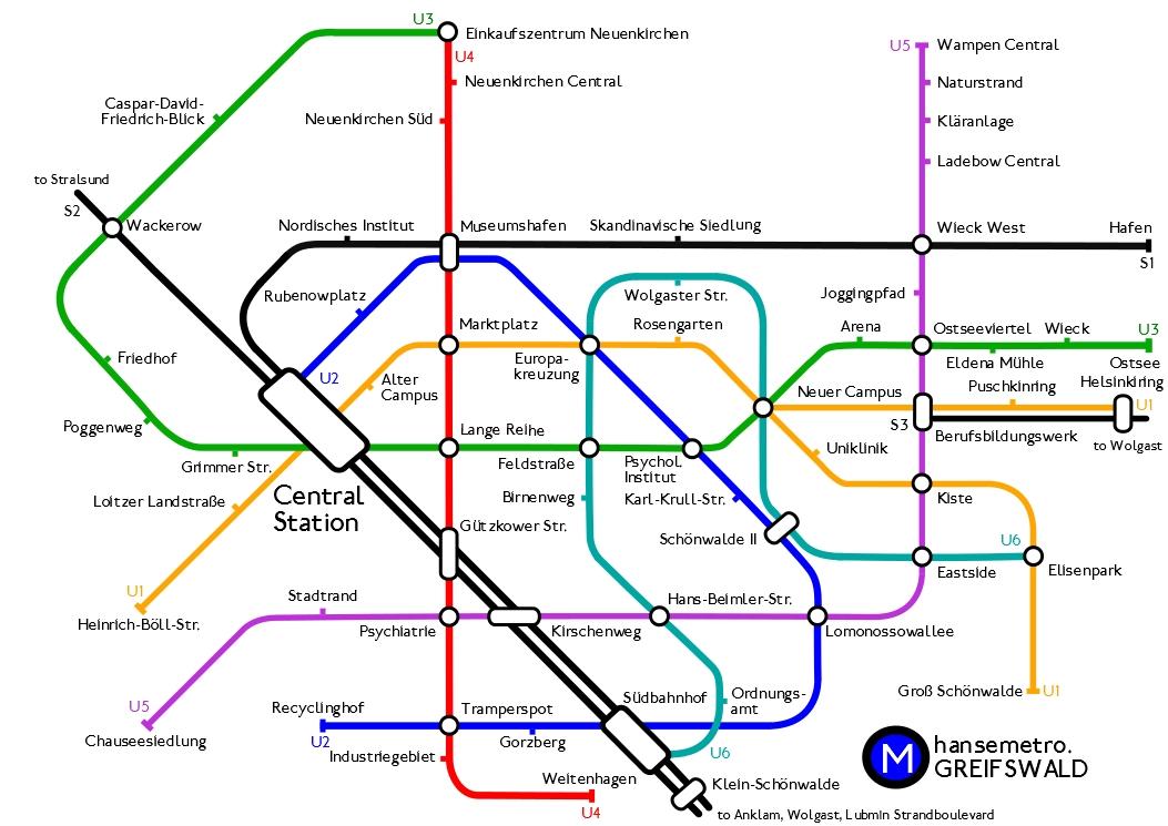 Metroplan von Greifswald