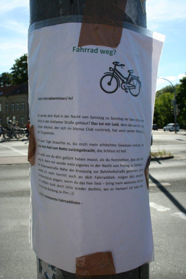 Zettel: Fahrrad weg?